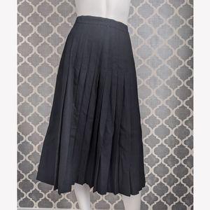 Vintage wool pleated black skirt